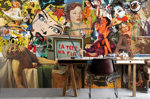 Papier peint street art TV tue