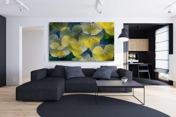 Tableau nature fleurs jaune deco