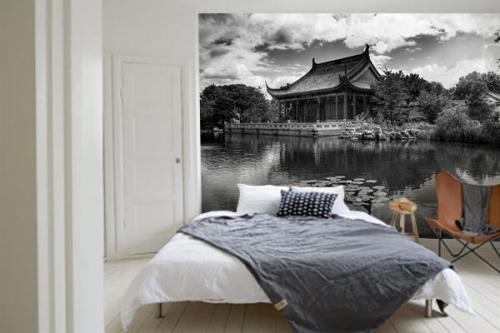 Papier peint panoramique noir et blanc Jardin Chinois