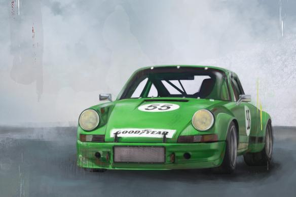 cadre voiture sport verte