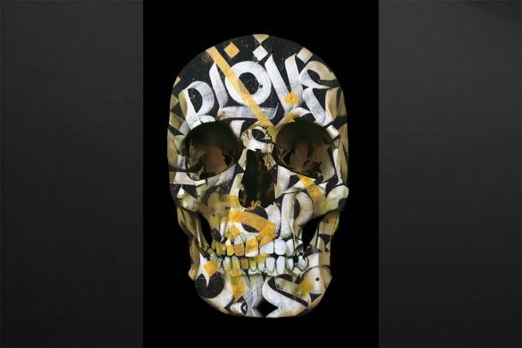 tableau tete de mort crane doré