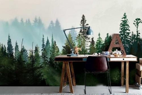 papier-peint-panoramique-foret-de-sapins