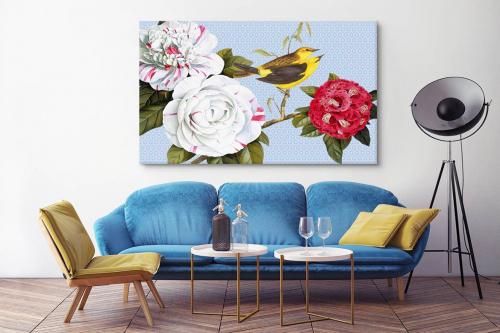 Tableau nature Fleurs et oiseaux