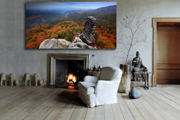 Tableau de montagne vertige d'automne