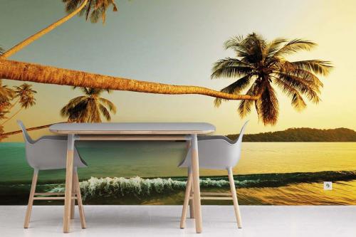 Papier peint trompe l'œil mer plage et cocotier