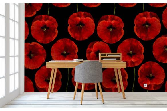 Papier peint fleuri Coquelicots rouges et noirs