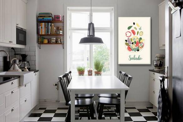 déco-cuisine-rétro-cadre-mural-salade