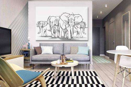 tableau-noir-et-blanc-dessin-éléphants