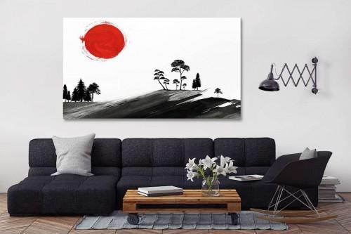 Tableau paysage japonais Sumi-e