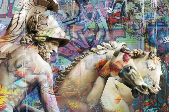 cadre-street-art-grecque-antique-bleu