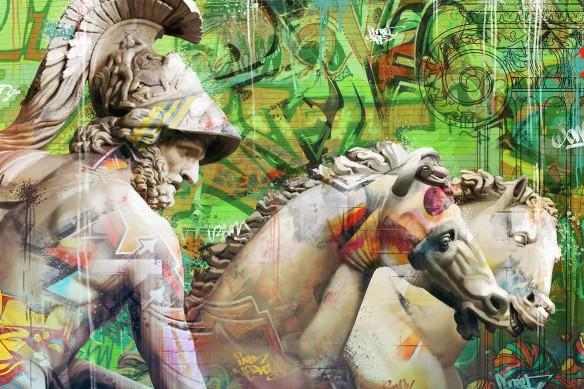tableau-graffiti-grecque-antique-vert
