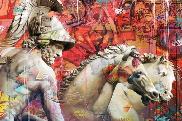 tableau-moderne-fantassin-grecque-antique-rouge