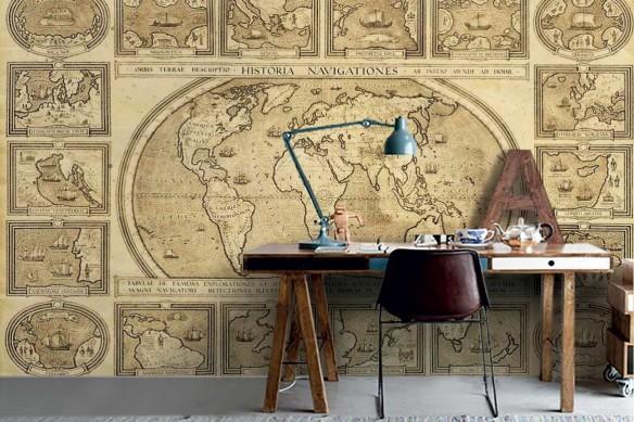Papier peint carte du monde Historia Navigationes
