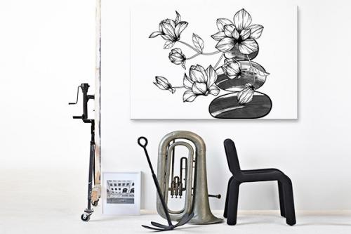 Tableau zen Orchidées sur cailloux