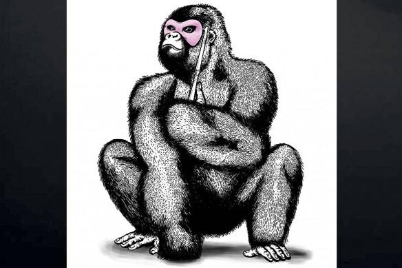 cadre-mural-original-gorille-masqué