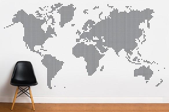 Papier peint carte du monde Ronds noirs