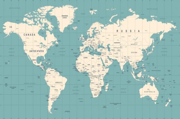 carte du monde déco quadrillage