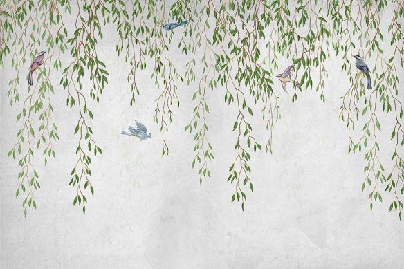 papier-peint-lianes-jungle-oiseaux
