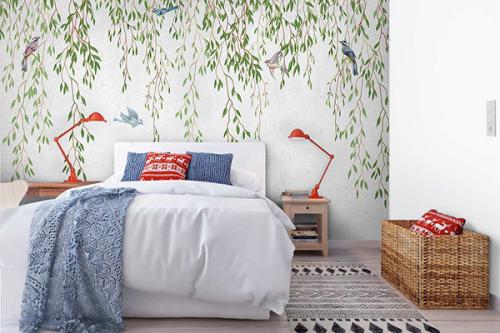 Papier peint jungle Lianes et oiseaux