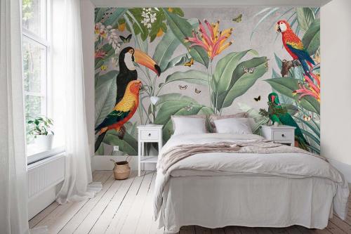 Papier peint jungle Oiseaux tropicaux et papillons