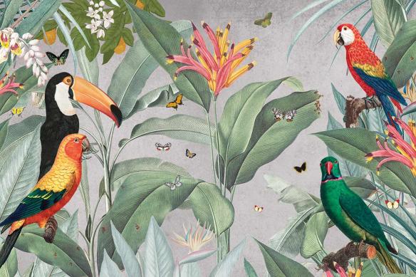tapisserie-jungle-oiseaux-tropicaux-et-papillons