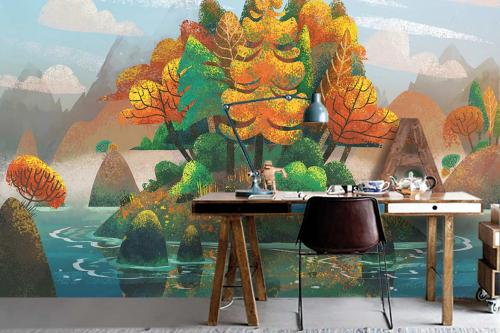 Papier peint forêt sur île