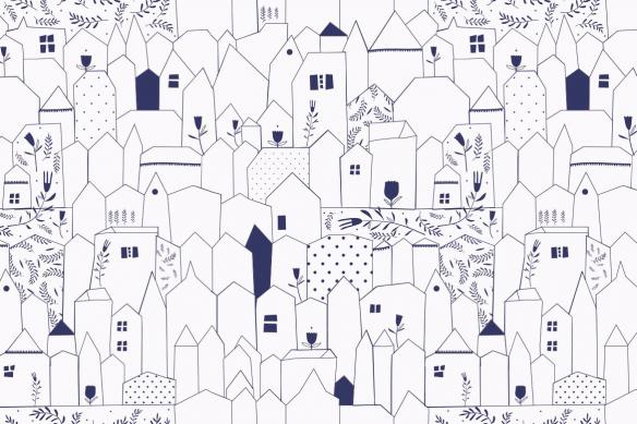 poster-mural-trompe-l-oeil-village-du-sud