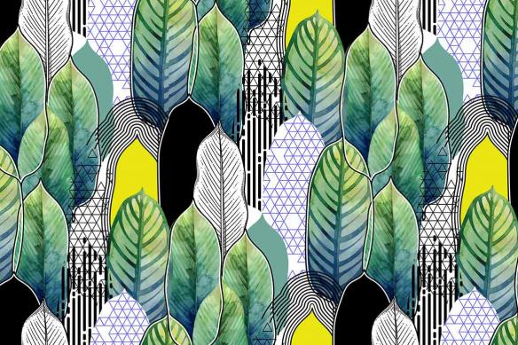 papier peint tendance feuillage géométrique