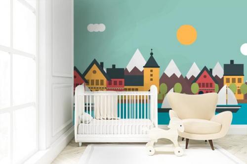 Papier peint chambre enfant Mon village en bord de mer