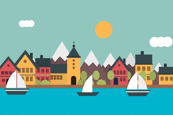 tapisserie-chambre-bebe-village-bord-de-mer