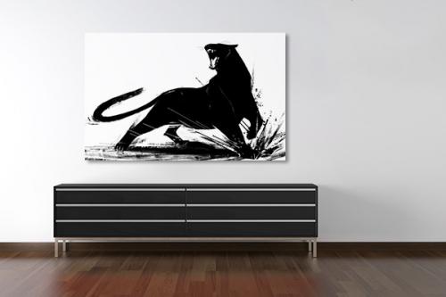 Tableau noir et blanc Panthère noire