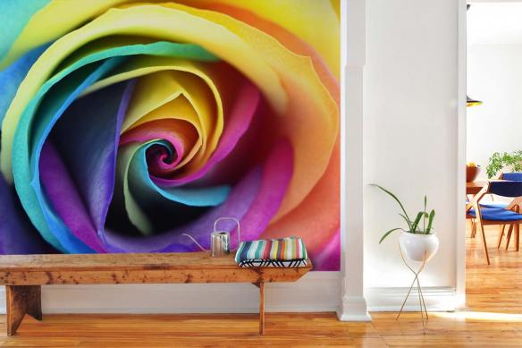 papier-peint-couloir-rose-multicolore