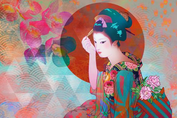 cadre-japonais-geisha-fleurs
