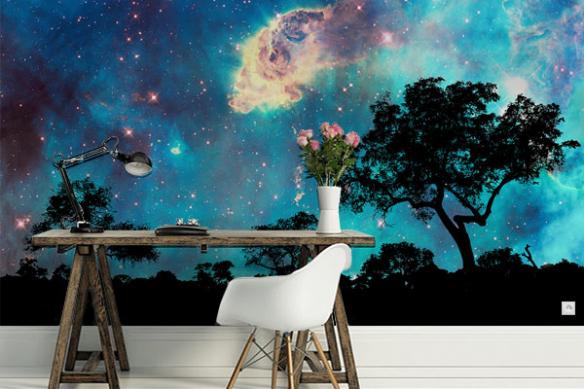 papier-peint-panoramique-foret-sous-les-étoiles