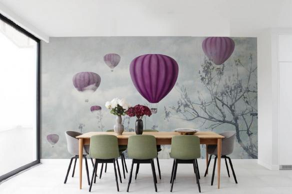 papier-peint-haut-de-gamme-arbre-et-montgolfieres