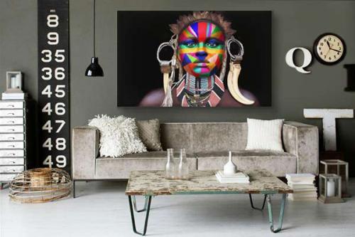 Tableau femme africaine visage coloré