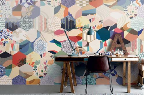 papier-peint-géométrique-patchwork-hexagones