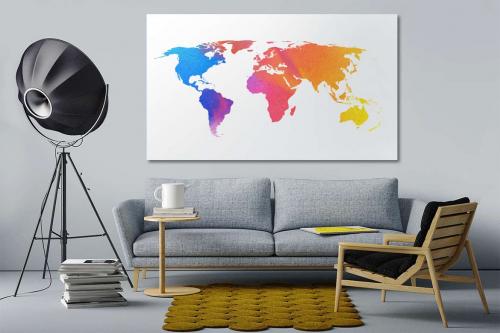 Tableau planisphère Watercolor