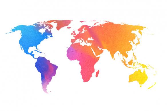 tableau carte du monde Watercolor