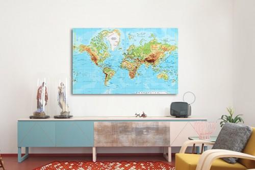 Tableau carte du monde réaliste
