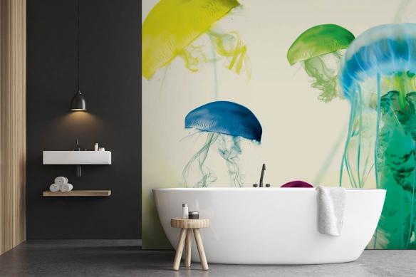 Papier peint salle de bain Méduse