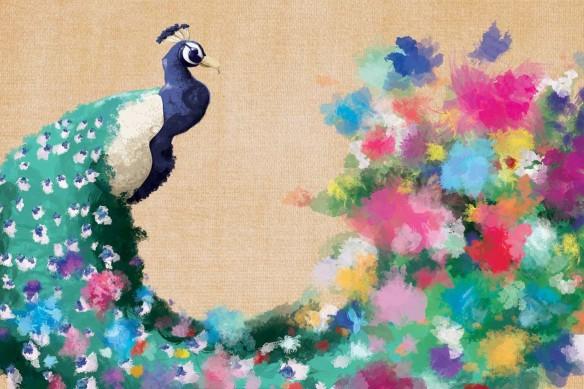 papier-peint-haut-de-gamme-paon-fleuri rose