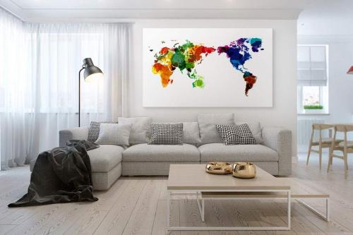 Tableau mappemonde Tâches de couleurs