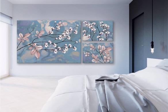 tableaux-fleurs-multi-panneaux-élégance