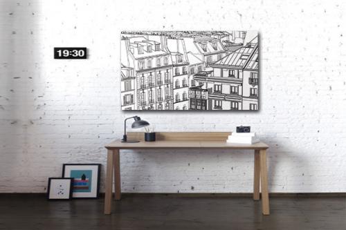 Tableau noir et blanc Au dessus de Paris