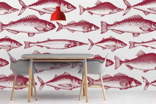 papier-peint-pour-cuisine-poissons-de-la-mer