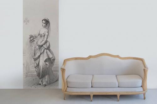 Frise murale grise Dame de Trèfle