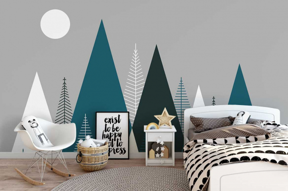 papier-peint-panoramique-chambre-scandinave-montagnes-bleues-canard