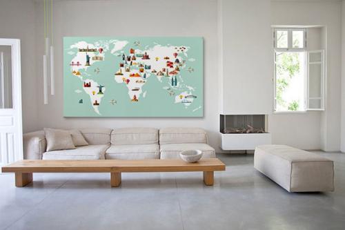 Tableau carte du monde Monuments du monde