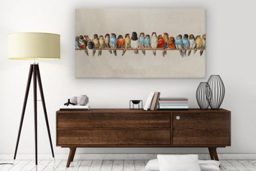 tableau-vintage-oiseaux-sur-un-fil